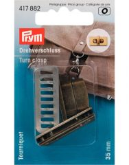 Turn Clasp For Bags Rectangular Brass Brushed | Prym