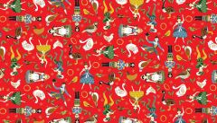 Twelve Days of Christmas Fabric   Classic Characters Red