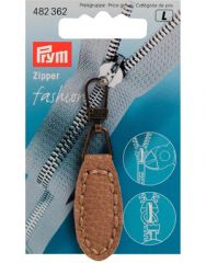 Zip Puller   Imt. Leather Oval Tab - Beige