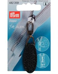 Zip Puller   Imt. Leather Oval Tab - Black
