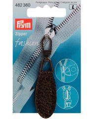 Zip Puller   Imt. Leather Oval Tab - Dark Brown