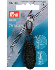 Zip Puller   Imt. Leather Oval Tab - Dark Blue