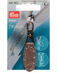 Zip Puller   Imt. Leather Oval Tab - Taupe