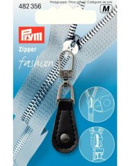 Zip Puller   Imt. Leather Tab, Round - Black