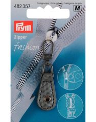 Zip Puller   Imt. Leather Tab, Round - Grey