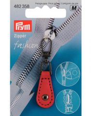 Zip Puller   Imt. Leather Tab, Round - Red