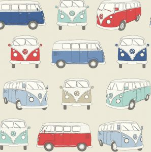 VW Campervan Fabric Blue - Main - 103806