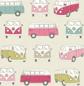 VW Campervan Fabric Pink - Main - 103807